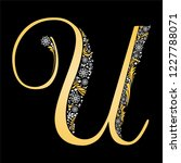 gold letter u  isolated on... | Shutterstock . vector #1227788071