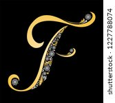 gold letter f  isolated on... | Shutterstock . vector #1227788074