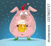 christmas cartoon pig with beer  | Shutterstock .eps vector #1227802717