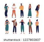 collection of unhappy people... | Shutterstock .eps vector #1227802837