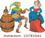 medieval juggler and pretty...   Shutterstock .eps vector #1227814261