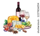 watercolor bottle and glass of...   Shutterstock . vector #1227826054