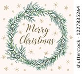 merry christmas wreath with... | Shutterstock .eps vector #1227835264
