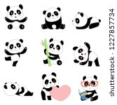 cute panda characters. chinese... | Shutterstock .eps vector #1227857734