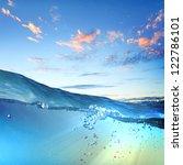 design template with underwater ...   Shutterstock . vector #122786101