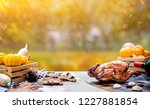 happy thanksgiving day. roasted ... | Shutterstock . vector #1227881854