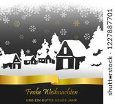 winter village card  merry... | Shutterstock . vector #1227887701
