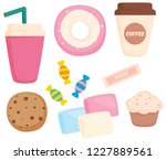 vector set of coffee and sweets ... | Shutterstock .eps vector #1227889561