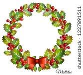 christmas mistletoe wreath with ... | Shutterstock .eps vector #1227891511