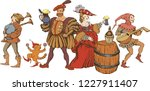medieval jugglers  cavalier and ...   Shutterstock .eps vector #1227911407