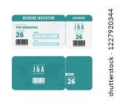 wedding ticket invitation...   Shutterstock .eps vector #1227920344