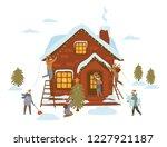 people preparing for christmas...   Shutterstock .eps vector #1227921187