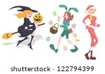 witch  bunny and santa girls... | Shutterstock .eps vector #122794399