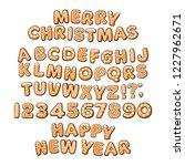 gingerbread cookies alphabet.... | Shutterstock .eps vector #1227962671