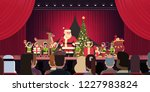 open red curtain santa claus... | Shutterstock .eps vector #1227983824