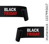 black  paper banner. ribbon.... | Shutterstock .eps vector #1227992617