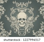 baroque seamless ornament.... | Shutterstock .eps vector #1227996517