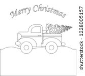 red truck with christmas tree... | Shutterstock .eps vector #1228005157