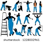 set of silhouettes of worker in ... | Shutterstock .eps vector #1228032961