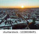 beauty sunset over old european ... | Shutterstock . vector #1228038691