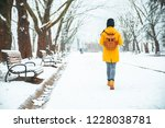 woman walking by snowed city... | Shutterstock . vector #1228038781