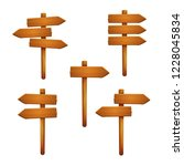 set of wooden signposts with... | Shutterstock .eps vector #1228045834