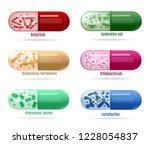 set of colored probiotics pills ... | Shutterstock .eps vector #1228054837