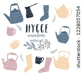 hygge doodle vector set with... | Shutterstock .eps vector #1228057054
