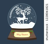 christmas snow globe with deer... | Shutterstock . vector #1228061821