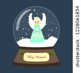 christmas snow globe with angel ... | Shutterstock . vector #1228061854