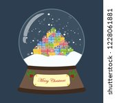 christmas snow globe on the... | Shutterstock . vector #1228061881
