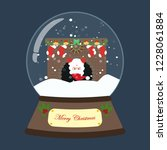 christmas snow globe on the... | Shutterstock . vector #1228061884