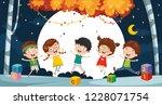 vector illustration of kids... | Shutterstock .eps vector #1228071754