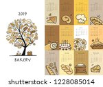 bakery  calendar 2019 design | Shutterstock .eps vector #1228085014