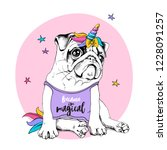 adorable puppy pug in a bright... | Shutterstock .eps vector #1228091257