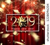 happy new year 2019 card with... | Shutterstock .eps vector #1228096204