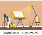 designer's workplace for... | Shutterstock .eps vector #1228096897