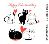 bright greeting card with cats... | Shutterstock .eps vector #1228111531