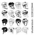 protective hockey helmets   Shutterstock .eps vector #1228123444