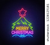 merry christmas neon text ...   Shutterstock .eps vector #1228125181