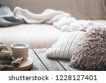 still life from home interior... | Shutterstock . vector #1228127401