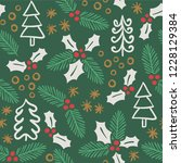 christmas pattern with ivy ... | Shutterstock .eps vector #1228129384
