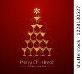 christmas poster with golden... | Shutterstock .eps vector #1228130527