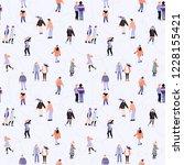 cool ice skaters vector pattern ... | Shutterstock .eps vector #1228155421