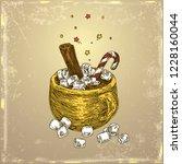 vintage color card. mug of... | Shutterstock .eps vector #1228160044