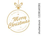 merry christmas golden bauble... | Shutterstock .eps vector #1228160281