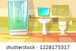 bathroom with stall shower... | Shutterstock . vector #1228175317