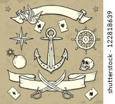 set of old school tattoo... | Shutterstock .eps vector #122818639