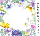 flower frame. watercolor... | Shutterstock . vector #1228195621
