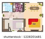 architectural flat plan top... | Shutterstock .eps vector #1228201681